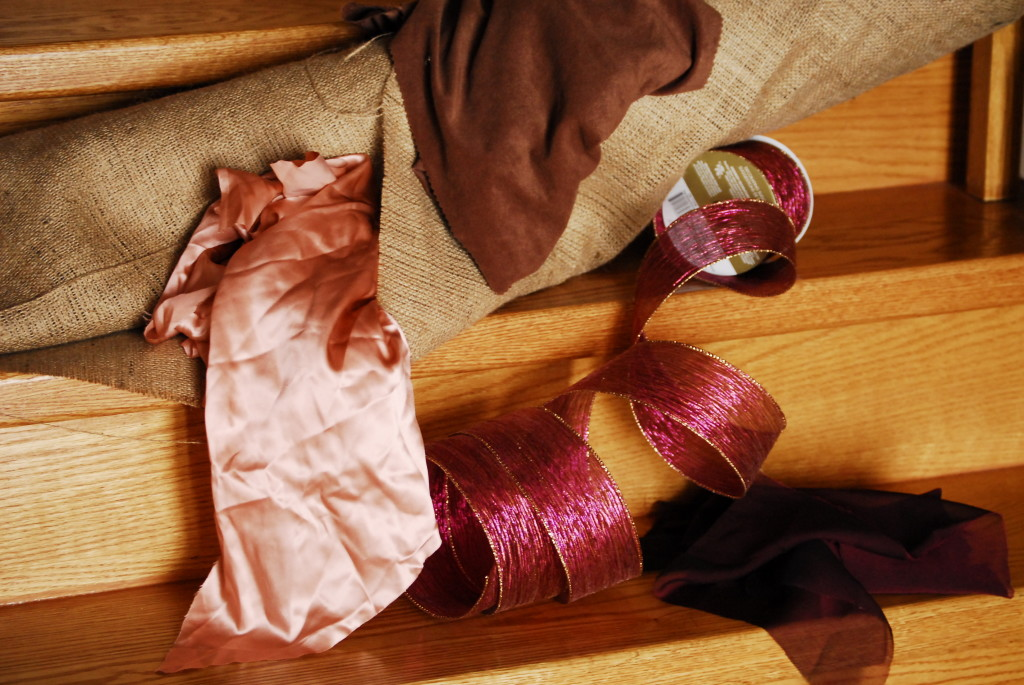 burlap, fabric and ribbon