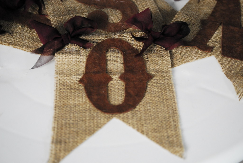 lettered burlap flag with bows