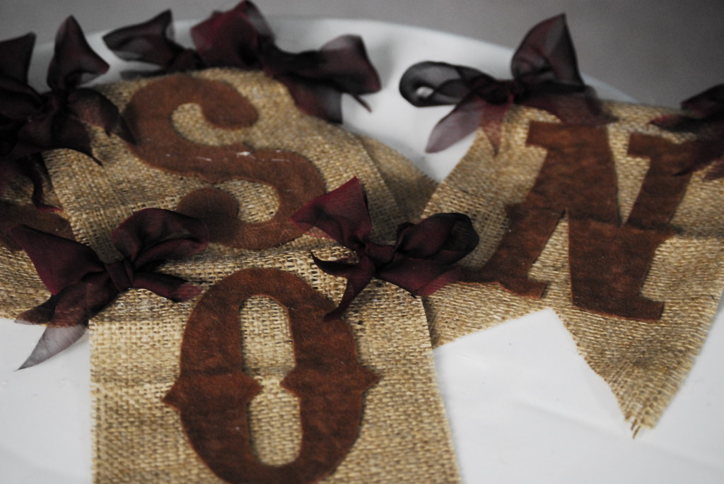 lettered burlap flags