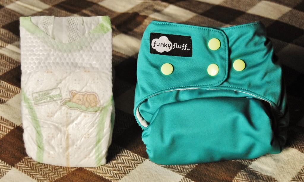 newborn diaper comparison - funky fluff and huggies