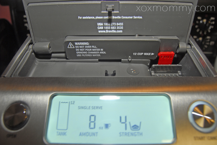 Breville Grind Control on open water tank fill indicator