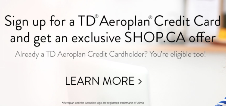 shop.ca TD aeroplan offer